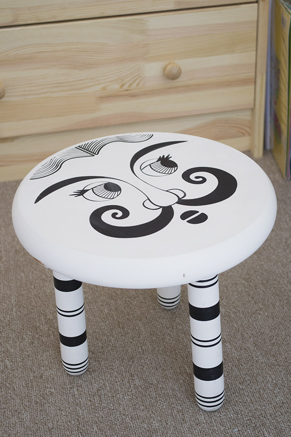 Black and white stool curateanddisplay