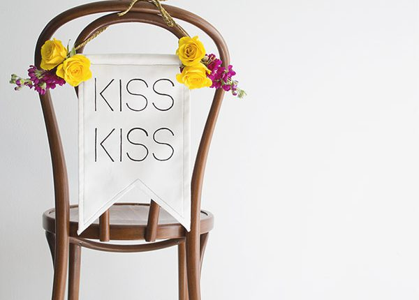 Kiss Kiss Wedding Chair Banner DIY TiffGrantRiley