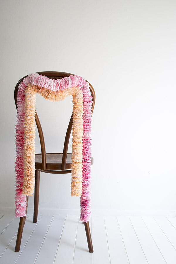 Paper Garland Chair Back Wedding DIY TiffGrantRiley