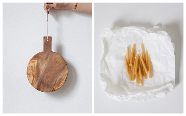 Ederle Lookbook Lifestyle Beeswax Candles Wooden Board