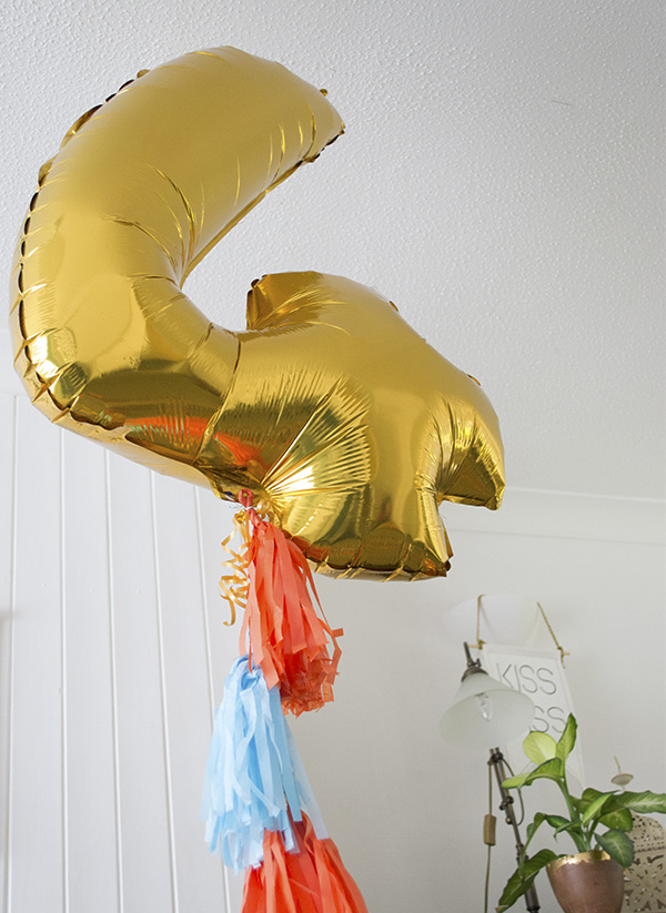 Giant Gold Number Four Balloon