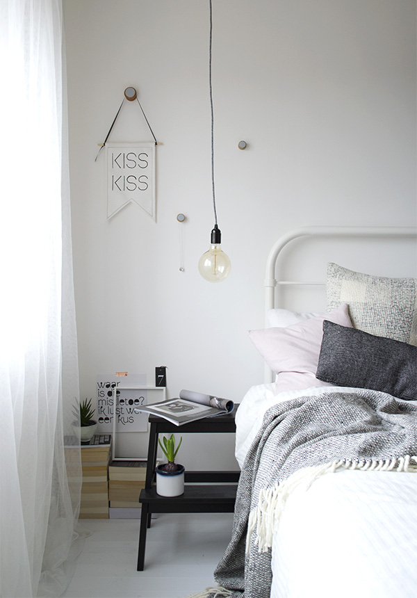 Bright, minimal bedroom styling