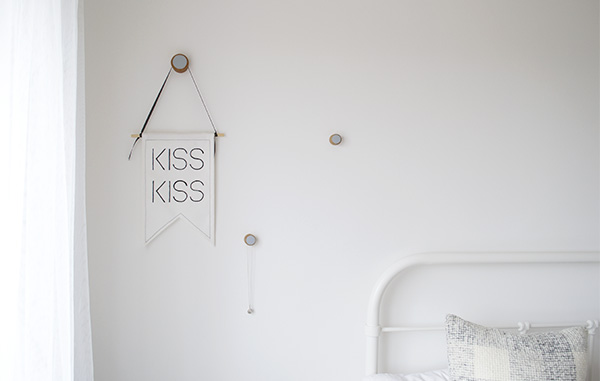 Bright, minimal bedroom, canvas banner