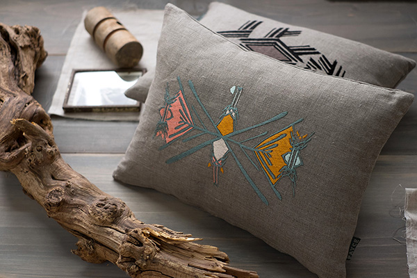 FAYCE textiles embroidered Relic cushion