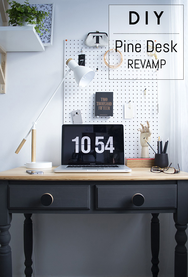 DIY Chalk Paint Pine Desk Revamp Office Workspace Makeover Curate and Display Blog