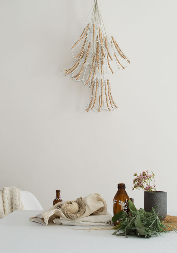 Diy Wooden Bead Chandelier Out There Interiors String Lighting Winter01