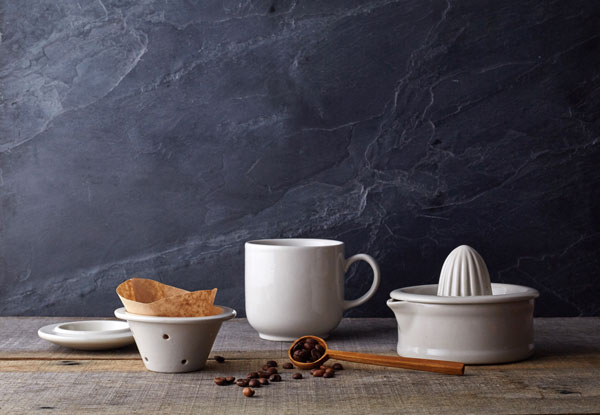 White, simple, vintage ceramic tableware by artisanal British homeware brand Minor Goods