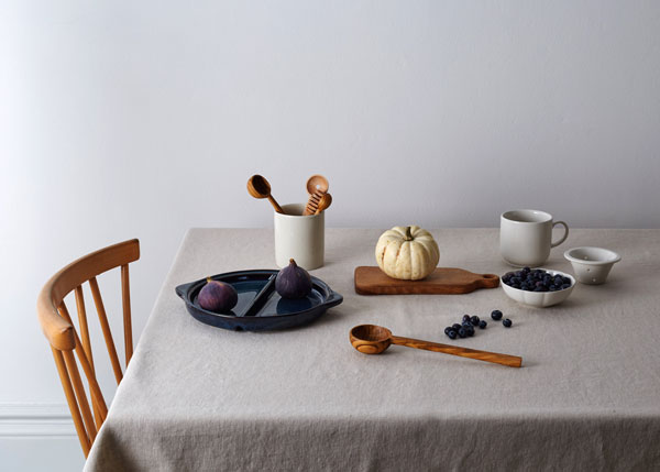 Artisanal tableware accessories, carved wooden spoons and vintage ceramics by Minor Goods