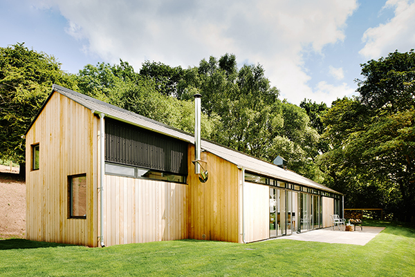 Exterior of The Chickenshed, minimalist holiday home in the Wye Valley, Monmouthshire