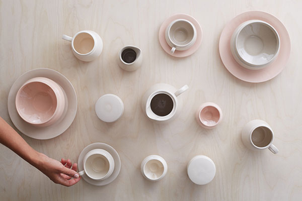 British Made ceramic tableware collection in neutral tones by designer Hend Krichen