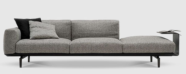 Minimalist, contemporary sofa with chaise designed by Camerich