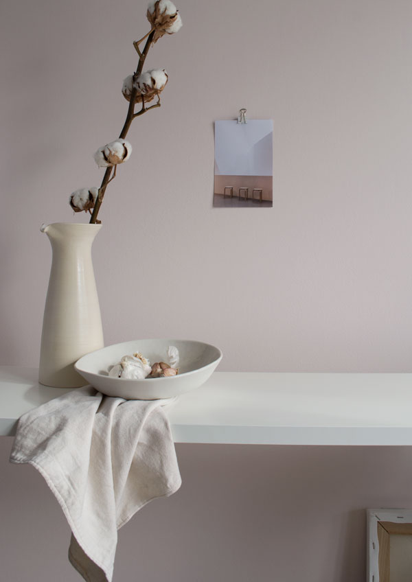 Still life ceramics styling in soft pink