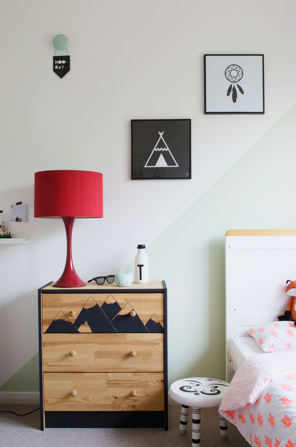 Bright renter friendly kids room decor ideas - IKEA Rast chest of drawers DIY