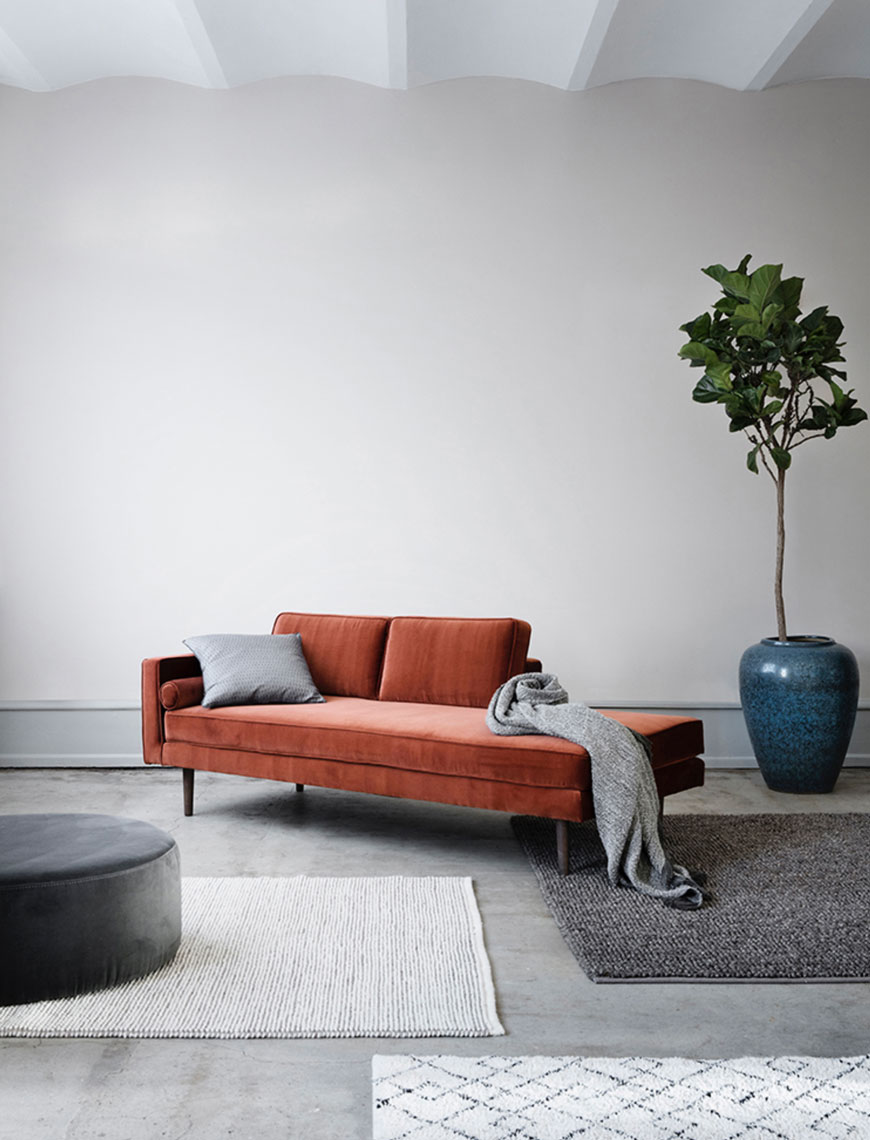 how to use colour in a minimalist home, rust coloured velvet sofa, Broste Copenhagen
