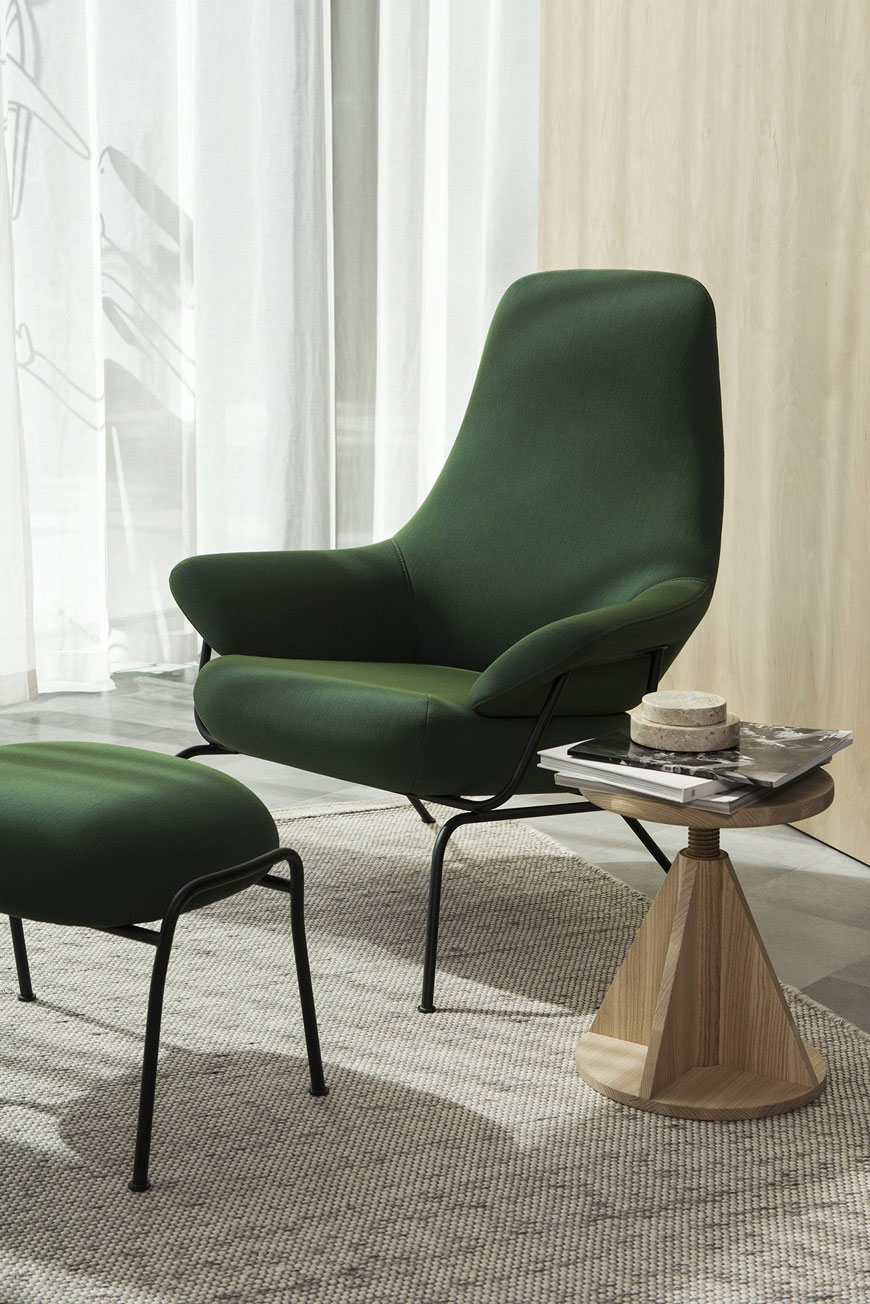 how to use colour in a minimalist home, dark green Hai Peacock green lounge chair by HEM