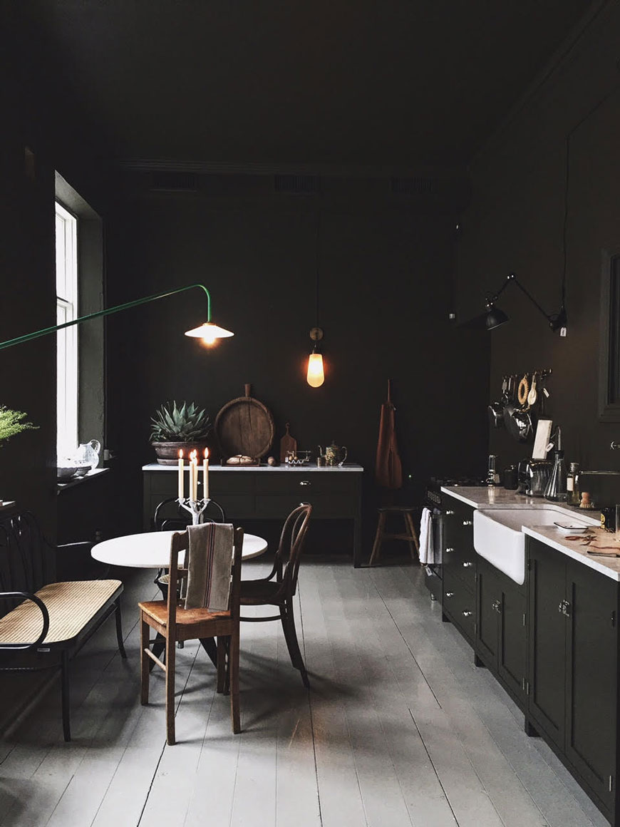 how to use colour in a minimalist home, dark green kitchen walls, Artilleriet Copenhagen